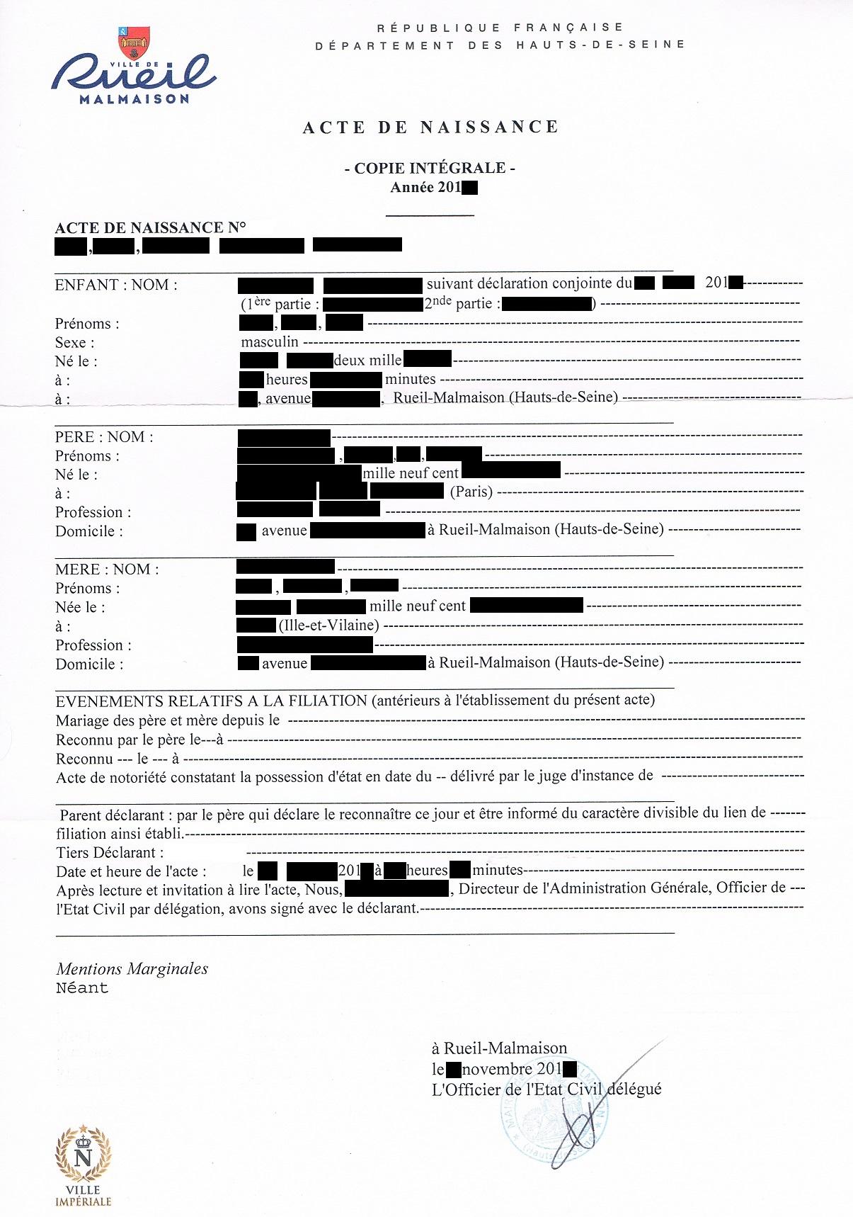 Beglaubigte Übersetzung französische Geburtsurkunde
