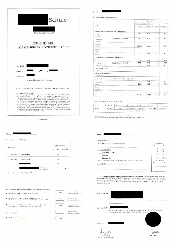 Beglaubigte Übersetzung Deutsches Abiturzeugnis