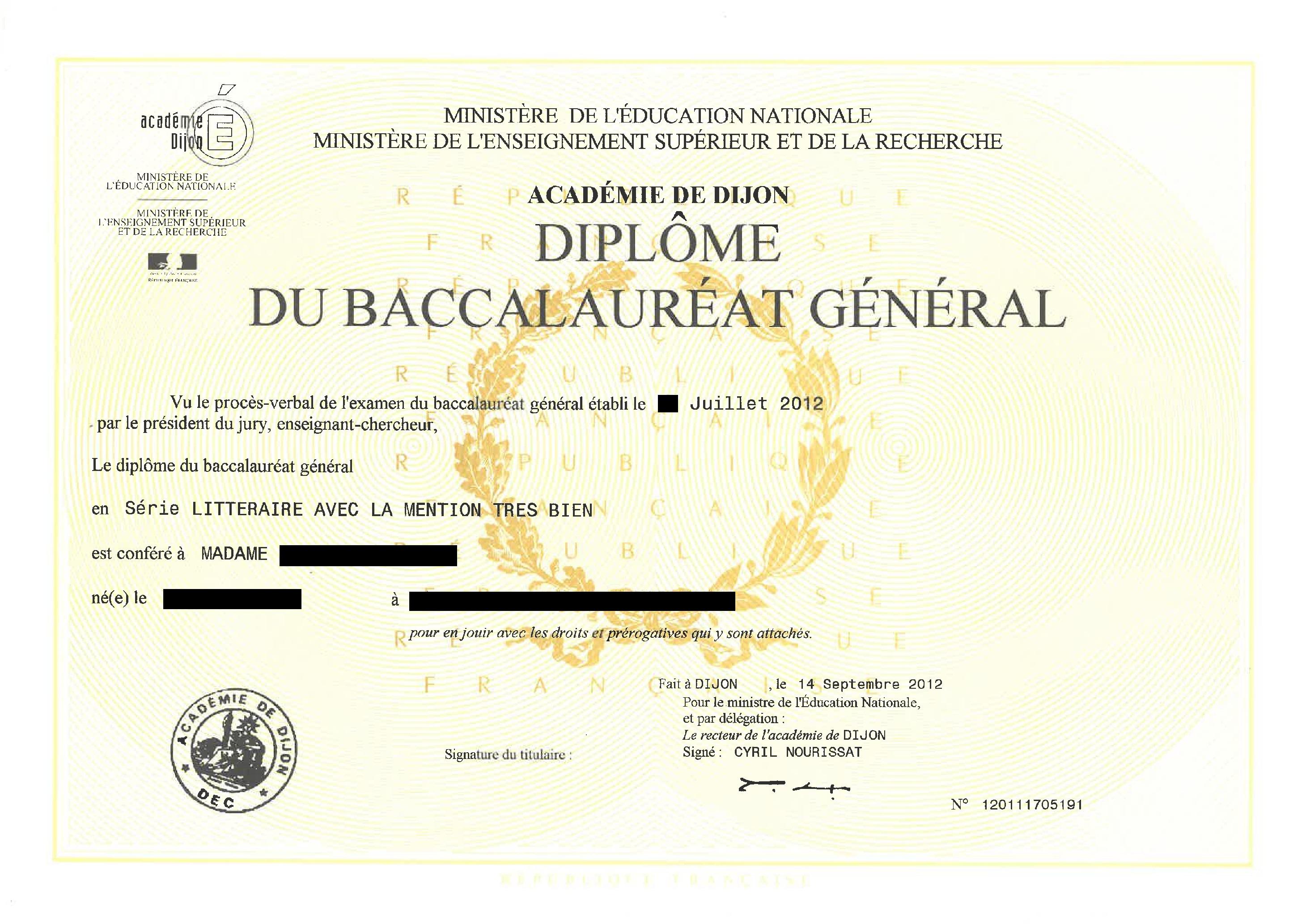 Beglaubigte Übersetzung Französisches Abitururkunde